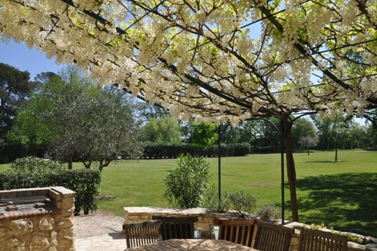 Moulin de la Roque, Noves, Provence : your villa La Bergerie in spring with your terrace covered by glycine in flower