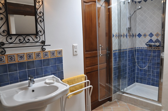 Mas des Oliviers at Moulin de la Roque, Noves, Master bedroom, with two person tub and private toilet room apart